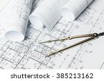 drawings  blueprints close up | Shutterstock . vector #385213162