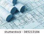 drawings  blueprints close up | Shutterstock . vector #385213186