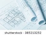 drawings  blueprints close up | Shutterstock . vector #385213252