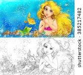 cartoon mermaid in the sea  ... | Shutterstock . vector #385217482
