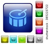 set of drum color glass rounded ...
