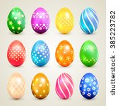 set of colorful easter eggs... | Shutterstock .eps vector #385223782
