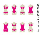 set of pink bikinis | Shutterstock .eps vector #385225048