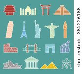 world landmarks outline icons ... | Shutterstock .eps vector #385226188