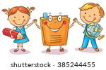 children holding hands with a... | Shutterstock .eps vector #385244455