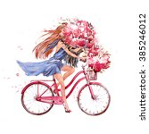Girl On Bike.  Bicycle. Bike....