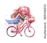 Girl On Bike.  Bicycle. Bike....