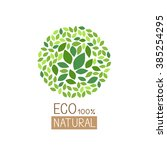 eco green leaves in circle...   Shutterstock .eps vector #385254295