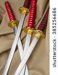 four red japanese sword in its... | Shutterstock . vector #385256686