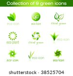 collection of nine green eco... | Shutterstock .eps vector #38525704