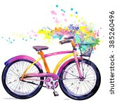 Bicycle. Watercolor Bicycle An...