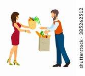 donate food to volunteer. food... | Shutterstock .eps vector #385262512