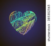 bright heart with colored lines ... | Shutterstock .eps vector #385302565