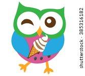 happy owl cartoon vector | Shutterstock .eps vector #385316182