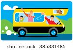 family goes to camping. camping ... | Shutterstock .eps vector #385331485