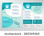 paw symbol on vector brochure... | Shutterstock .eps vector #385349365