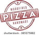 classic woodfired italian pizza ... | Shutterstock .eps vector #385375882