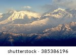 anapurna's peak during sunrise... | Shutterstock . vector #385386196