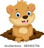 cute groundhog cartoon | Shutterstock . vector #385402756