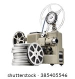 vintage movie projector with...   Shutterstock . vector #385405546