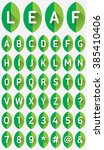 green leaf font flat icon with... | Shutterstock .eps vector #385410406