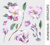 set of watercolor spring nature ... | Shutterstock . vector #385412692