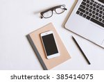 flat lay photo of office desk... | Shutterstock . vector #385414075