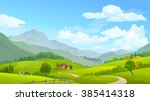 cows grazing in green fields... | Shutterstock .eps vector #385414318