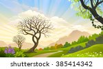 beautiful trees in a magical... | Shutterstock .eps vector #385414342
