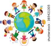 cute children around the world. ... | Shutterstock . vector #385421305