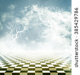 Small photo of Illusory landscape with a checkerboard floor and bare branches of a tree