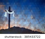 Easter Scene With Cross. Jesus...