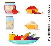 set of vegetables  mayonnaise ... | Shutterstock .eps vector #385433782
