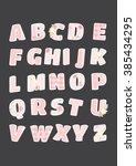 alphabet letters set. shabby... | Shutterstock .eps vector #385434295
