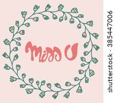 romantic miss you card. cute...   Shutterstock .eps vector #385447006