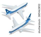 large passenger airplane 3d... | Shutterstock .eps vector #385462852