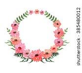 watercolor pink flowers branch | Shutterstock . vector #385480012