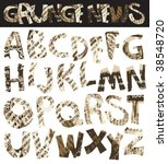grunge newspaper font  retro... | Shutterstock .eps vector #38548720