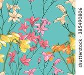 floral seamless pattern. sketch ... | Shutterstock .eps vector #385490806