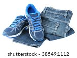 sports shoes for men and jeans... | Shutterstock . vector #385491112