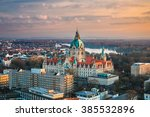 Stock photo aerial view of the city hall of hannover germany 385532896