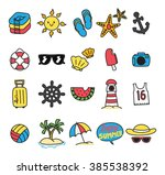 summer themed icon doodle | Shutterstock . vector #385538392
