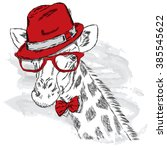 giraffe in a hat and sunglasses.... | Shutterstock .eps vector #385545622