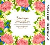 vintage delicate invitation... | Shutterstock . vector #385555402