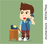 boy talking on phone | Shutterstock .eps vector #385567966