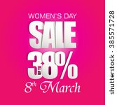 women's day sale poster with... | Shutterstock .eps vector #385571728