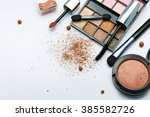 makeup products on white... | Shutterstock . vector #385582726
