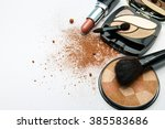makeup products on white... | Shutterstock . vector #385583686