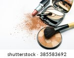 makeup products on white... | Shutterstock . vector #385583692