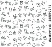 seamless pattern of furniture.... | Shutterstock .eps vector #385593376